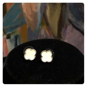 Nordstrom Jewelry - White & silver clover enamel post back earrings